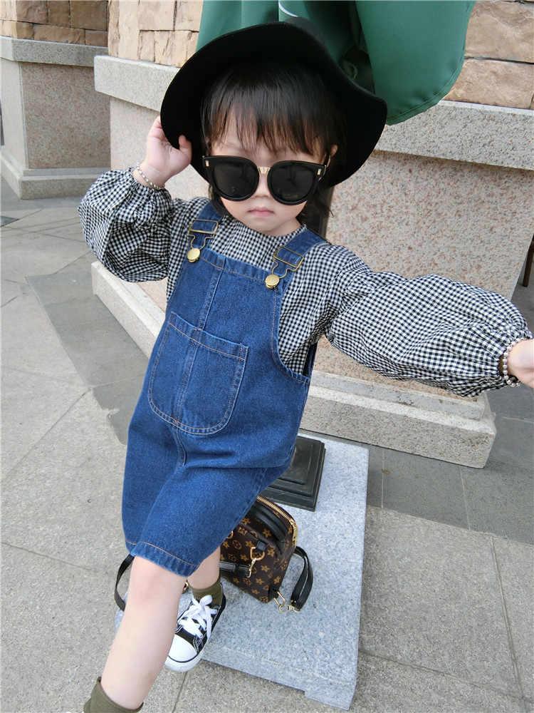 子供服 2018 春と秋の新ファッション快適な少女柄シャツ + デニムストラップドレス 2 ピーススーツ