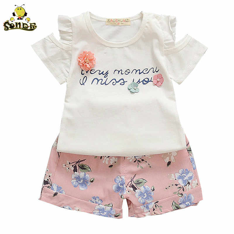 Baby Girl Clothes Summer Off Shoulder T-shirt+ Floral Shorts Children Clothes Little Girl Kids Outfits Fashion Sport Suit Set