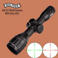 WALTHER 6x32 AO Hunting Compact Riflescope Mil Dot Red Green Illumination Wire Reticle 1 Inch Tube Tactical Optical Sights