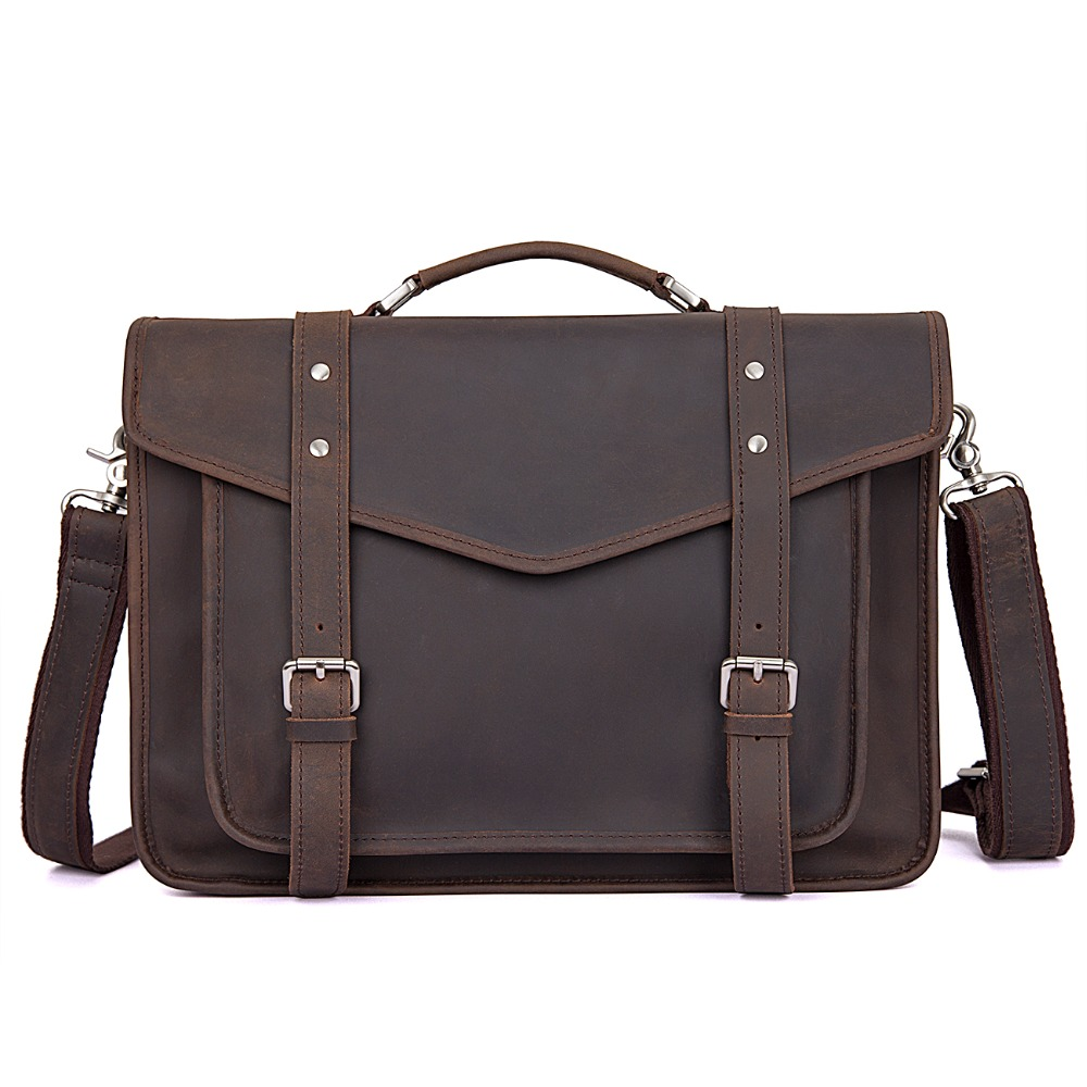 Augus Imported Top Layer Cow Leather Bag Retro Handbag England Style Sling Bag School Bag For Young 7377R
