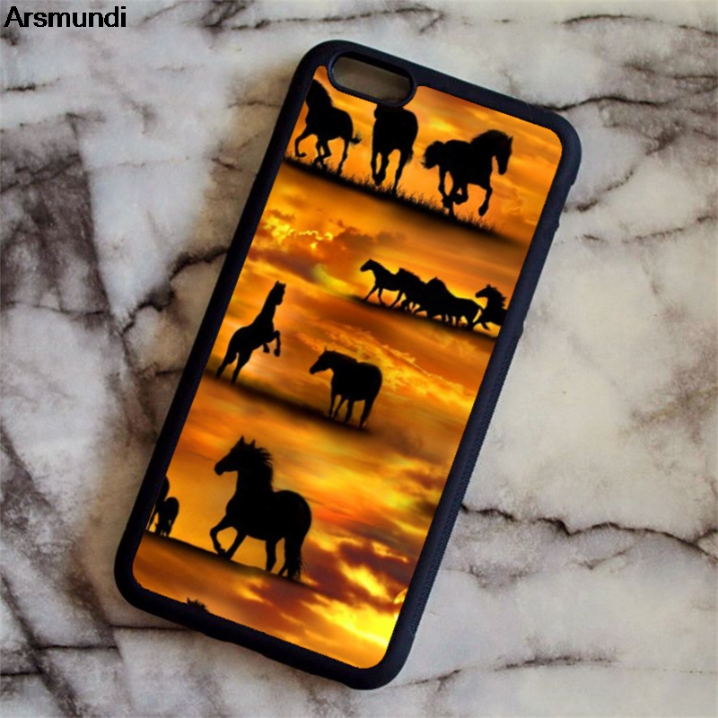Arsmundi running horse animal sunset Phone Cases for iPhone 4S 5C 5S 6 6S 7 8 Plus X for Samsung Case Soft TPU Rubber Silicone