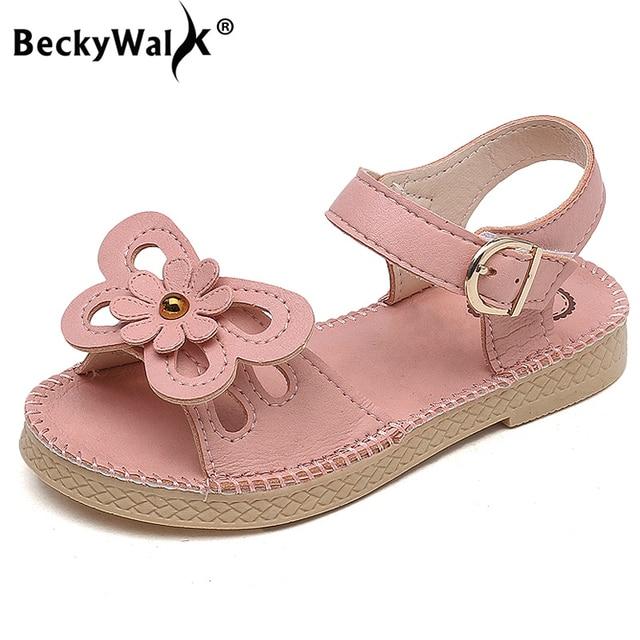 c99bdeec5faaa 2018 Nouveaux Enfants Filles D été Chaussures Enfants Sandales pour Filles  PU En Cuir Fleurs