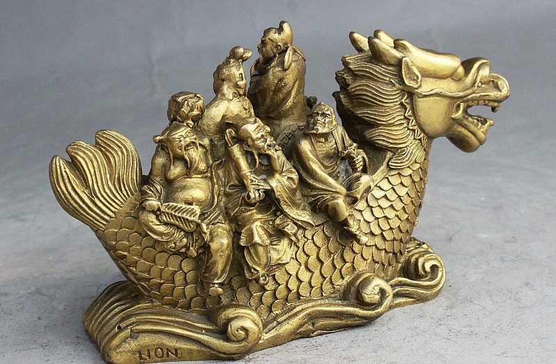 SCY Dân Gian Trung Quốc Fengshui Brass Tám Vị Thần Bất Tử 8 Thần Rode Cá Rồng Tượng Phật