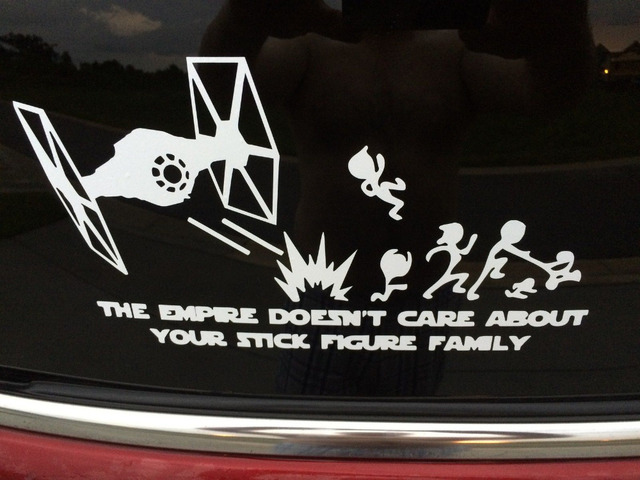 The empire doesnt care about your stick figure family vinyl sticker decal car 10 5