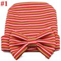 Hospital Newborn Baby Cotton Beanie Hats Big Bowknot Boys Girls Soft Knit Caps Baby Toddler Striped Hats Accessories1pc H777