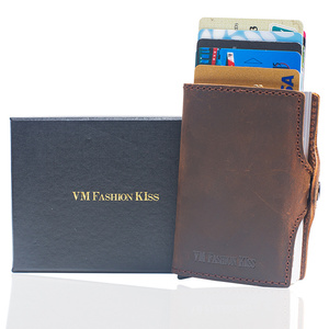 Image 5 - VM FASHION KISS RFID Crazy Horse Leather Mini Wallet Security Information Double Box Aluminum Credit Card Holder Metal Purse