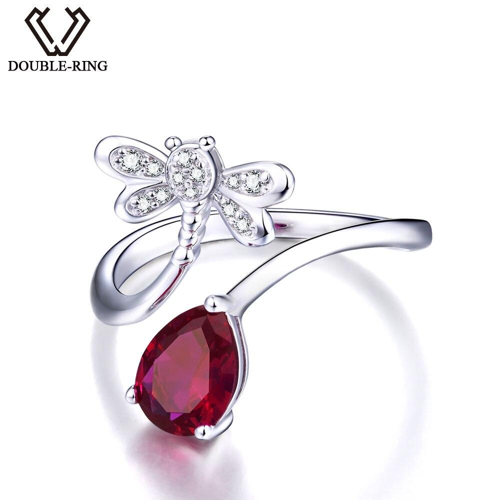 Дважды R создана Руби Роуз gemstone 925 стерлингов Серебряные кольца кольцо с камнем ...