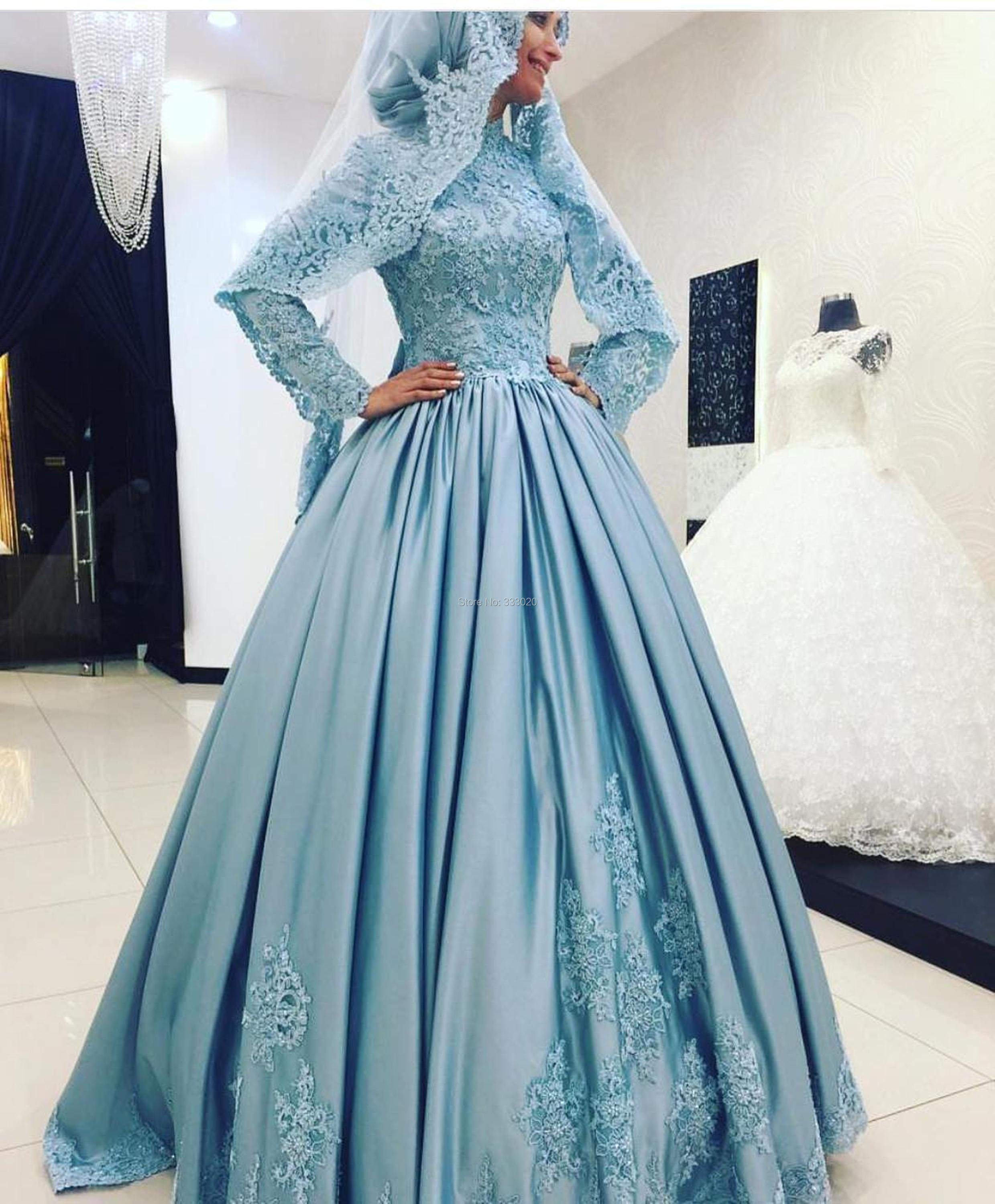 High Neck Long Sleeves Satin font b Hijab b font Muslim Evening Dress with Lace Appliques
