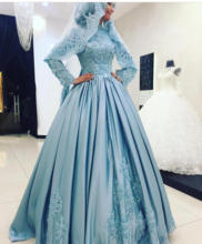 High Neck Long Sleeves Satin Hijab Muslim Evening Dress with Lace Appliques Saudi Arabia Party Gown robe de soiree gelinlik