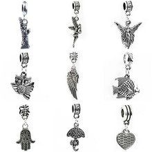 Btuamb Vintage Punk Style Hamsa Hand Angel Wings Pendant Charm Beads Fit Bohemia Pandora Bracelets & Bangles Women DIY Jewelry(China)