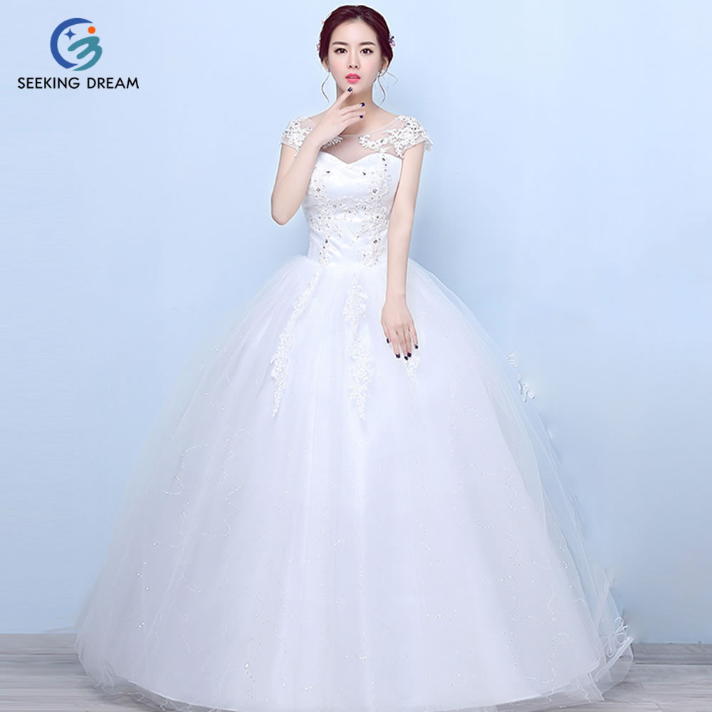 2017 Hot Girl Ivory White Sexy Ball Gown Dress Yarn Lace O Neck Wedding Dress Elegant