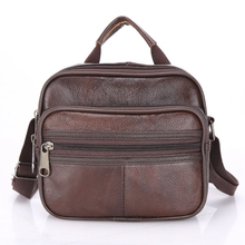 fashion 100% Genuine Leather Men Bag Vintage Business Messenger Bags Shoulder Male Travel Crossbody Retro