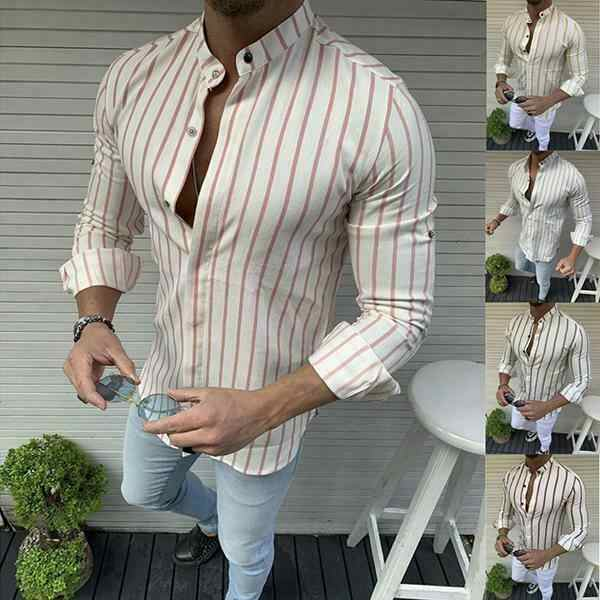 2019 Fashion Cool Tops Mannen Zomer Gestreepte Slim Fit Casual Shirts Blouse O hals Casual Shirt