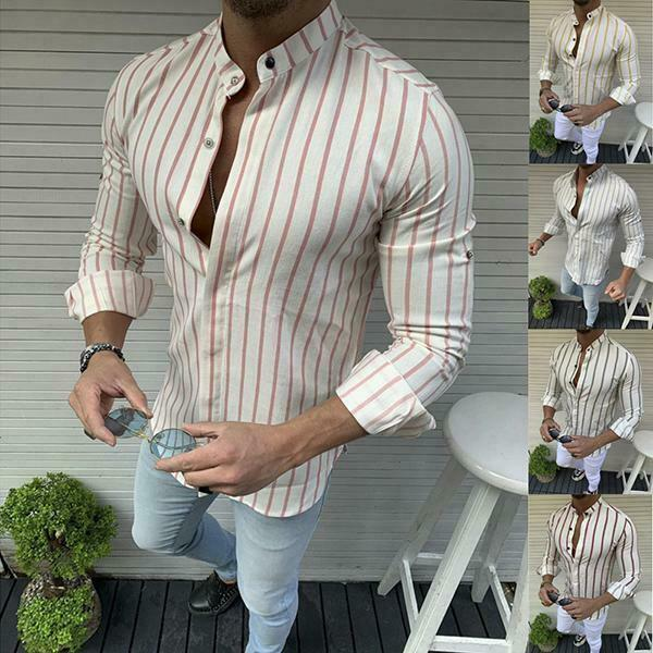 2019 Fashion Cool Tops Men Summer Striped  Slim Fit Casual Shirts Blouse O Neck Casual Shirt
