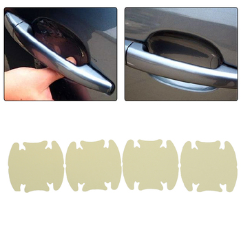 4Pcs Universal Car Door Handle Scratches Guard Protector Sticker Protective Cover Invisible Clear Urethane Film 3M Style image