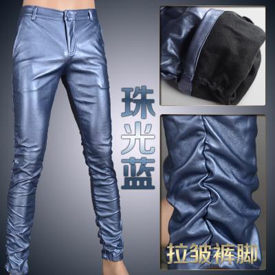 Мотоцикл Клуб Плотно Искусственной Кожаные Штаны Мужчины Горячая Мужская Мода брюки Для Мотоциклов Танцевальные Брюки Для Мужчин Hip Hop Мужчины Брюки - Цвет: sky blue wrinkle