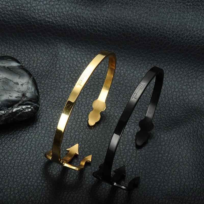 HIP India Cuff Bracelet Open Bangles Rose Gold/Silver Titanium Stainless Steel Fork Trident Bracelet for Men Women Jewelry 11