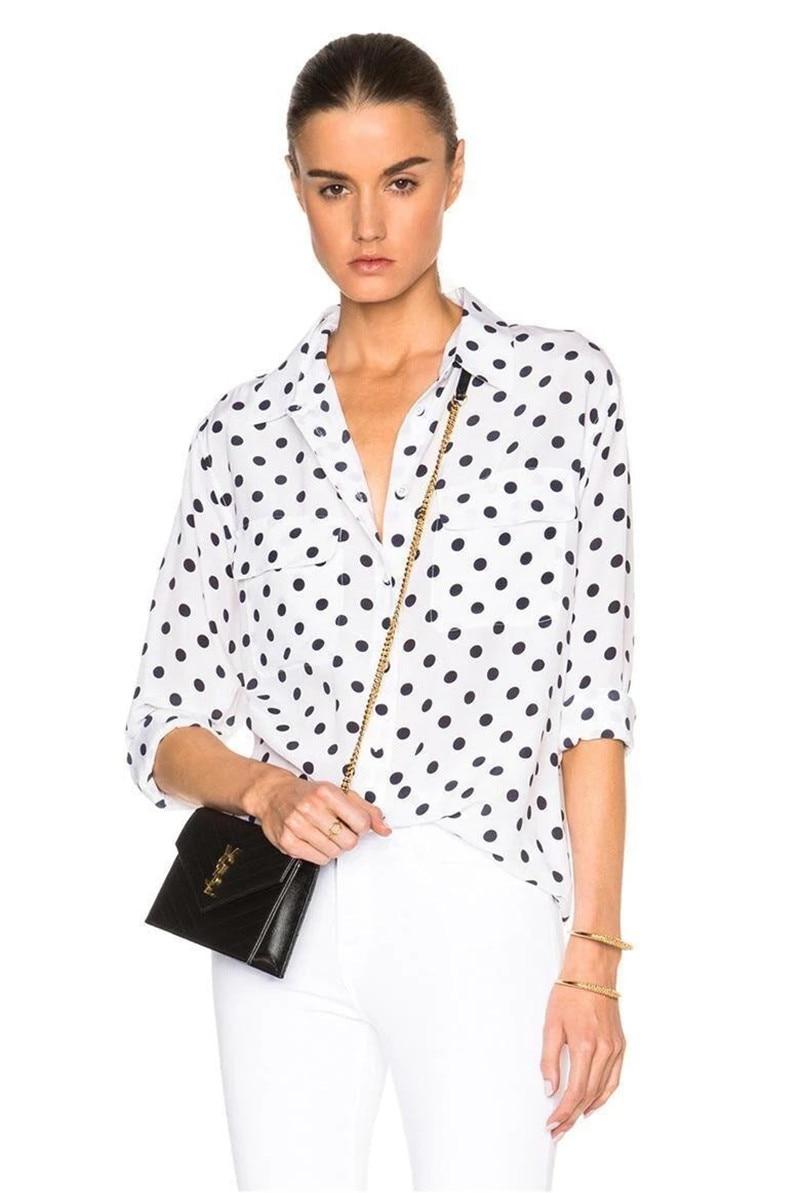 Women Silk Polka Dot Print Double Pocket Long Sleeve Vintage Blouse Top