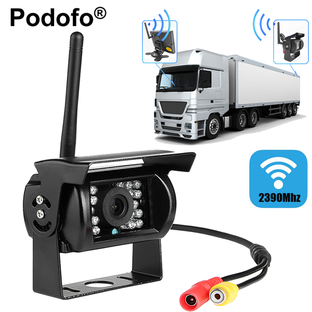 Podofo Wireless Car Rear View Camera Waterproof 18 IR Night Visions Camera Color CCD Image Reverse System For Vehicle Truck(China)