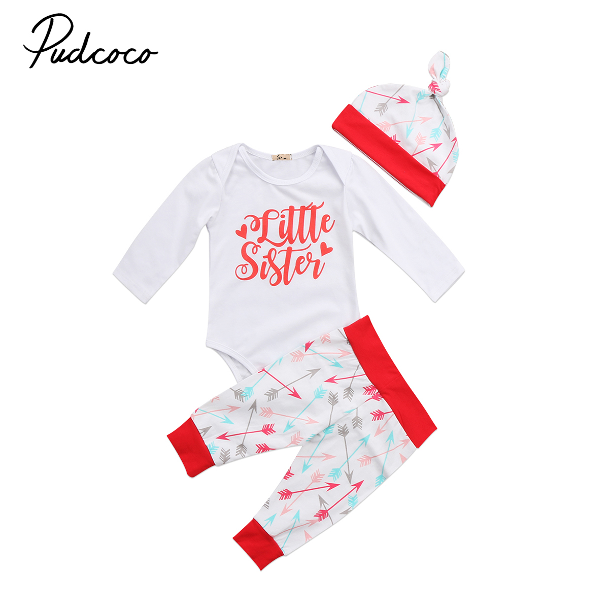 Newborn Infant Baby Girls Cotton Tops Romper Leggings Pants Hat 3Pcs Outfits Set Toddler Girl Little Sister Winter Clothes