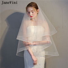 JaneVini Simple Ivory/White Bridal Veils Two Layer Elbow Length Veil Ribbon Edge Bride With Comb Women Wedding Accessories