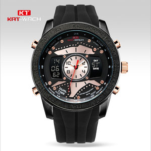 KAT-WACH Black Gold Watch Double Time Pointer to the second Sport Watch Swimming Brand Luxury LED Digital-watch Army KT714(China)