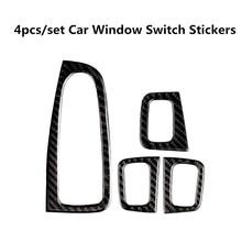 4pcs/set Carbon Fiber Car Window Switch Stickers For Mercedes Benz W205 C E GLC Series Interior Mouldings Auto Decals