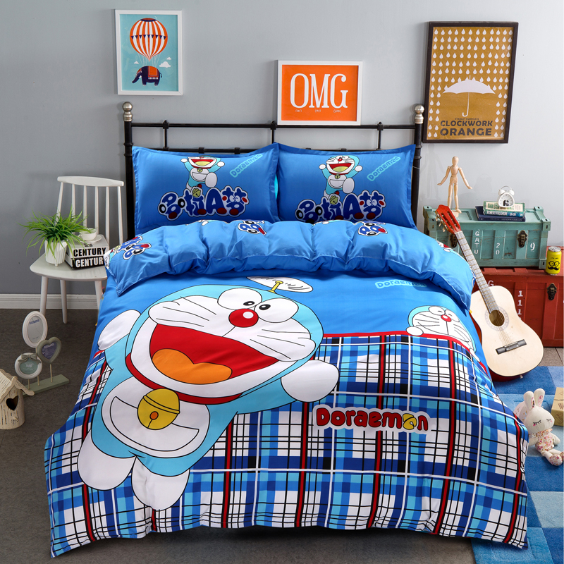 3D Stripes Doraemon Cartoon Bedding Set Kids Plaid/Polka Dots/Leopard Hello Kitty Bed Sheet Duvet Cover Set Bed Linen Bedclothes