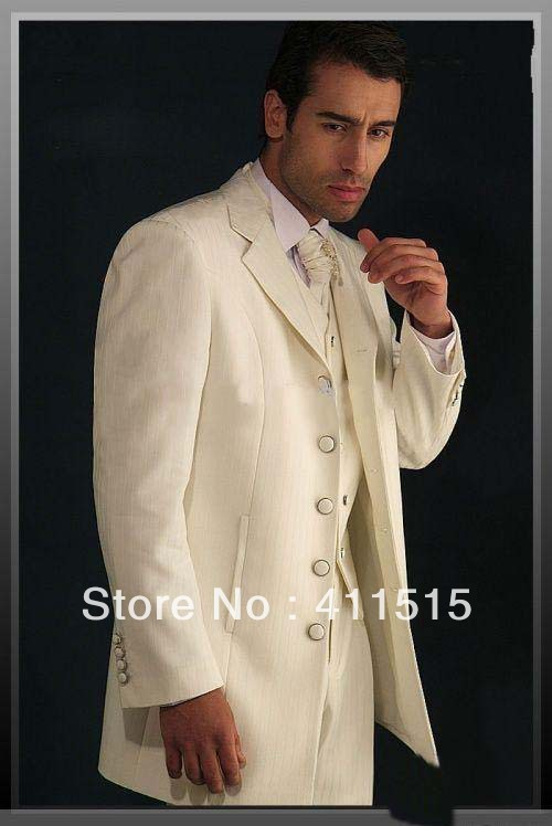 FRee SHIpping/top Good Price Ivory Groom Wear Tuxedos Groomsmen Men Wedding Dress/man Suit/custom Groom Party Vest Dress Suits