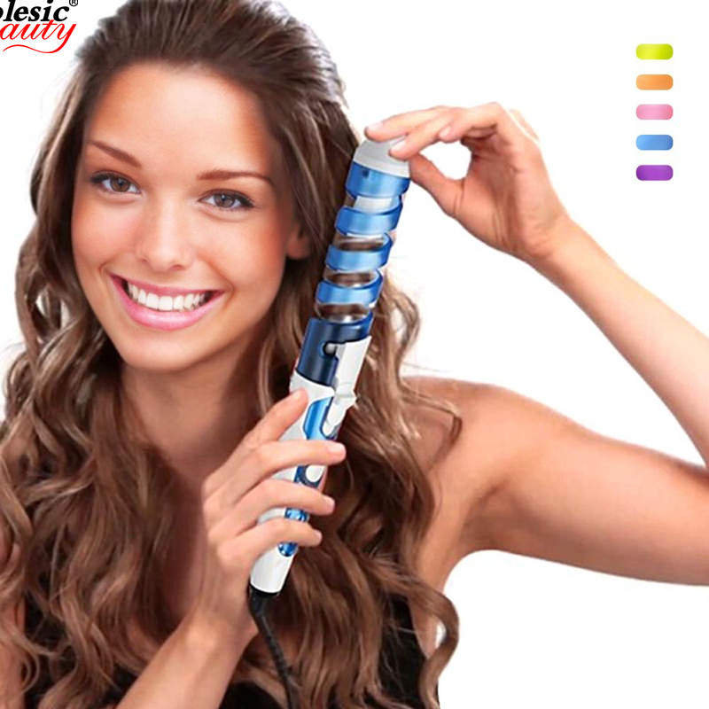 Professional Salon Ceramic Curling Iron Electric Hair Curler Wand Barrel Hair Styling Hot Tool Wavy Curls Home Use Travel