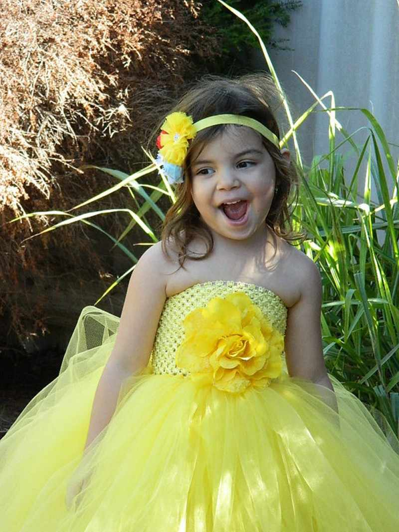 f066829ef4aea Girls Yellow Crochet Tutu Dress Baby Fluffy Tulle Dress Ball Gown with  Flower Headband Kids Cosplay Clothes Princess Party Dress
