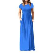 Women O Neck Casual Pockets Short Sleeve Floor Length Dress Loose Party  Dress(China) db5cff3920e6