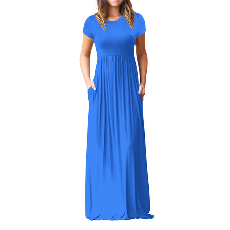 Women O Neck Casual Pockets Short Sleeve Floor Length Dress Loose Party Dress
