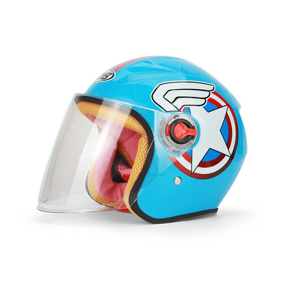 Новый детский мотоциклетный шлем с мультяшным фонариком, Детский комфортный Чоппер, мотоциклетный шлем для маленьких девочек и мальчиков
