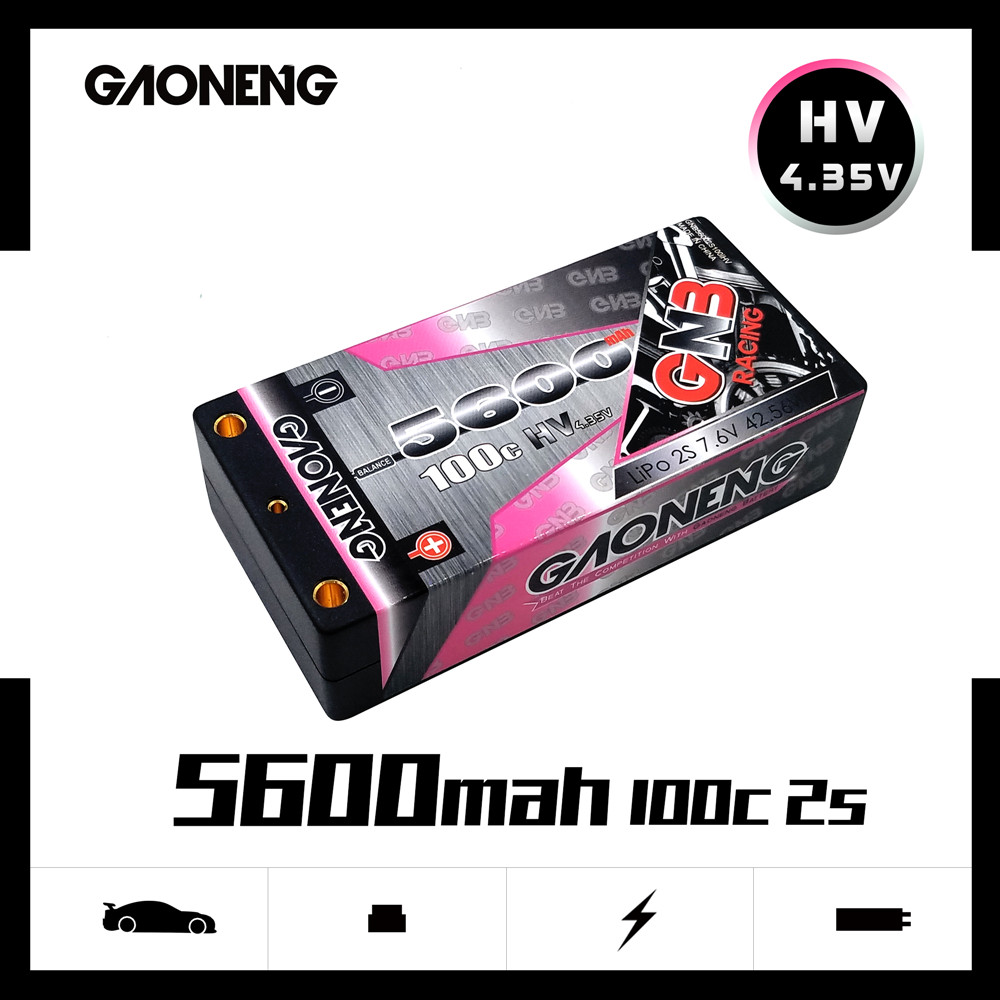 Gaoneng GNB 5600 mAh 2 S 7.6 V 100C/200C Hardcase shorty LiHV batterie pack T prise pour 1:10 1/10 RC voiture B5M 22 RB6 22 T SCT voiture de course