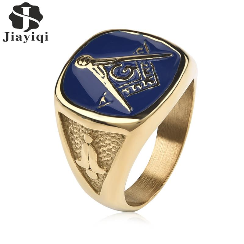 Jiayiqi Vintage Blue Masonic Signet Rings for Men Jewelry Gold Color Stainless Steel Ring Male Punk Gothic Party Gifts jiyaiqi men s ring vintage silver stainless steel compass style fashion men party ring male jewelry rings