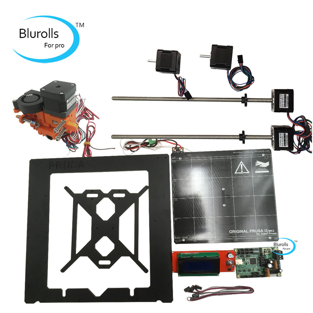 Prusa i3 mk2 3d printer DIY kit with metal frame, Mini-Rambo 1.3a board 2004 LCD, aluminum heated bed, hot end, stepper motors metal frame linear guide rail for xzy axix high quality precision prusa i3 plus creality 3d cr 10 400 400 3d printer diy kit