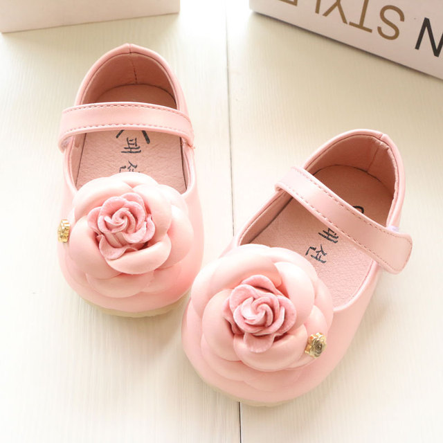 Hot Sale Fashion Rose Baby Girl Shoes Cute Princess Shoes Toddler Soft Bottom Drop Hook And Loop Free Shipping 3 Color for 0-3Y