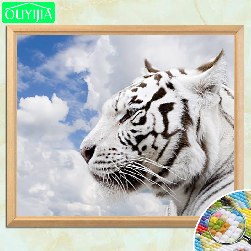 Arts,crafts & Sewing Ouyijia Colorful White Tiger 5d Diy Diamond Painting Full Square Diamond Embroidery For Sale Rhinestones Mosaic Painting Diamond Painting Cross Stitch