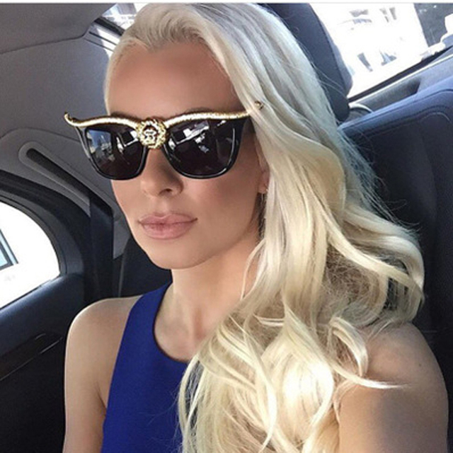 35ead1196a Retro Oversized Cat Eye Sunglasses Women Brand Designer Lion Head Luxury  Sun Glasses For Womens Gold