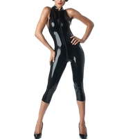 Free Shipping Handmade Latex Catsuit Sexy Fetish Leotard Latex Rubber Sleeveless Capri Catsuits For Women