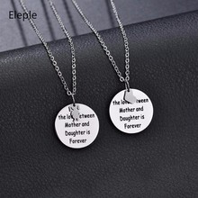 Eleple Stainless Steel Heart Necklace Love Between Mother and Daughter Is Forever Pendant Necklaces for Mother Gift S-N680