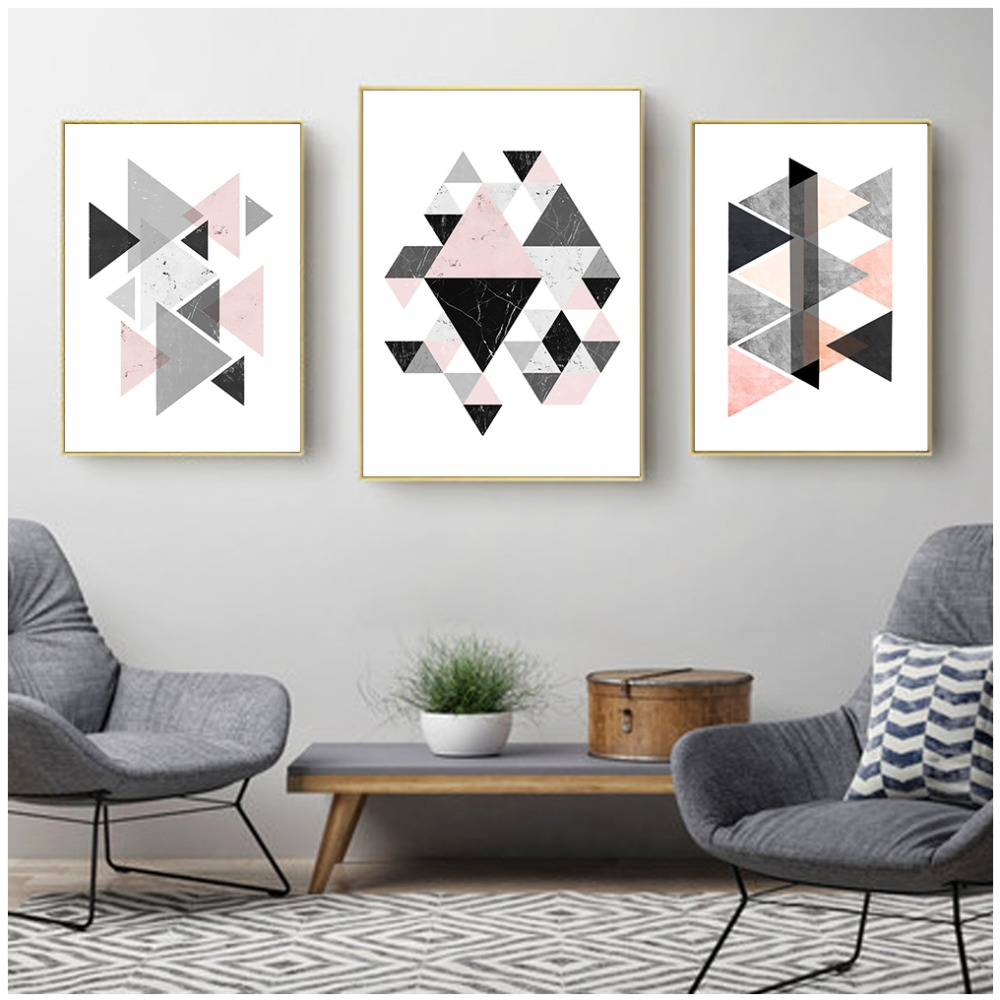 Geometry Nordic Posters And Prints Wall Art Canvas Painting Pink Black White Pictures Kids Room Decoration