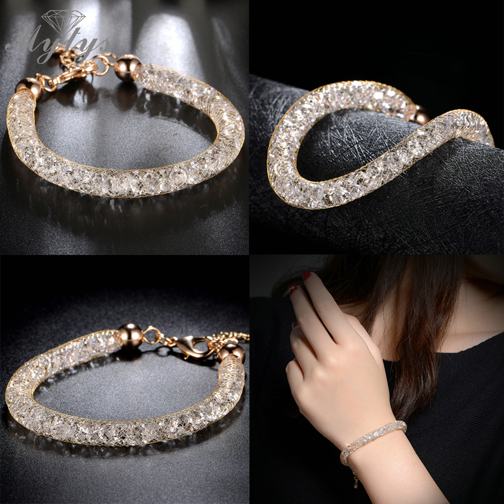 Mytys Rose Gold Wire Mesh Chain Sparkling Bracelet Stainless Steel