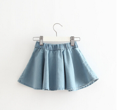 2017 New Girls Spring & Summer Solid Skirts Girls Jean Skirt Baby Girls Party Skirts Kids Brand