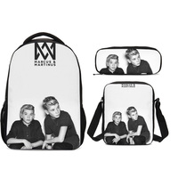 3Pcs/Set Portfolio School Bag For Girls Boys Marcus and Martinus 3D Printing Pen Pouch Teenage Children Backpack Mochila Escolar