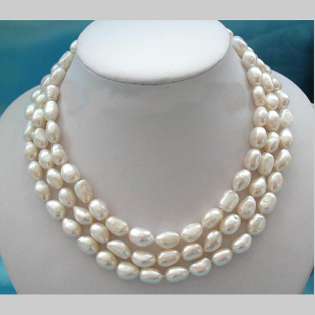 Stunning Real Pearl Jewellery, 3 Rows AA 10-13mm Huge Baroque White Freshwater Pearls Necklace,New Free Shipping. solar powered 2600mah external li polymer battery charger power source bank black