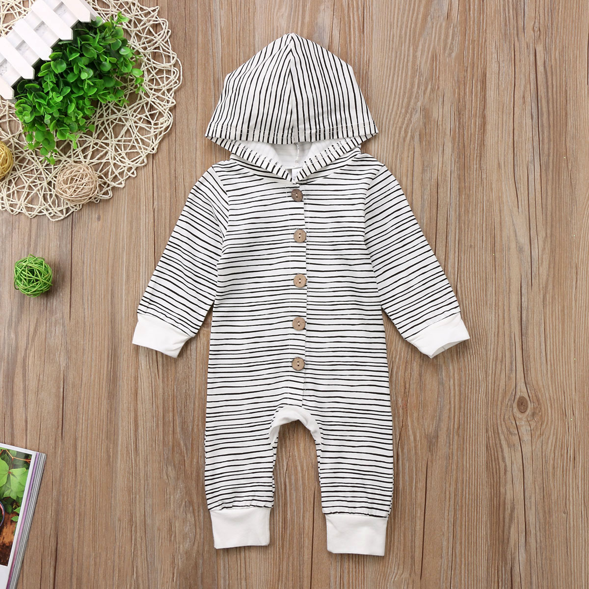Winter Striped Baby Boy Girl Warm Infant Romper Jumpsuit Long Sleeve Hooded Clothes Sweater Outfit