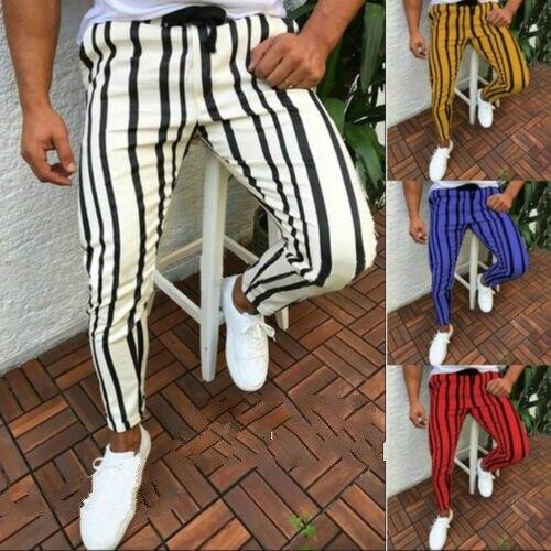 New 2019 Men Slim Fit Tracksuit Sport Gym Skinny Stripe Jogging Joggers Sweat Long Pants Trousers
