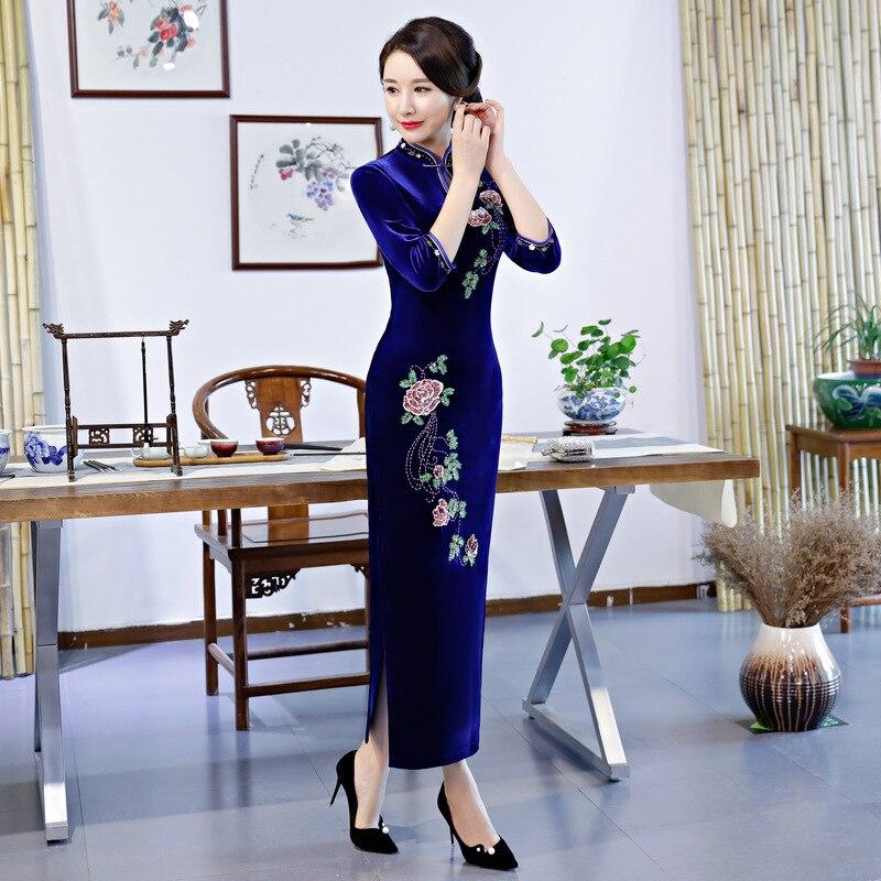 Femmes Col À Printemps Velours Mince Noir Partie Mode vert Long Robe Robes 4xl Style De bourgogne S pourpre 2018 bleu Mandarin Qipao Cheongsam Chinois LVjGqzpSUM